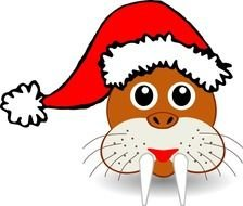 Funny Walrus Face With Santa Claus Hat Svg Vector Clip