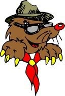 Cartoon mole with the hat clipart