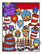 Cartoon Birthday Postcard Clipart