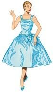 clipart of the woman in a blue dress
