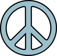 Blue Peace sign clipart
