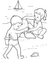 drawn children playing on the beach in a coloring book