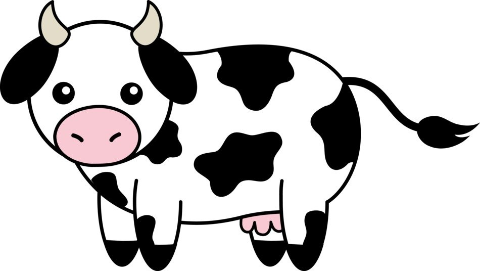 drawn black and white cow