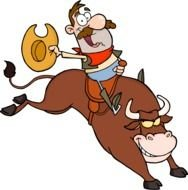 Rodeo, cartoon happy man riding angry bull