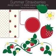 Summer Strawberries Scrapbook Design Pack Paper And
