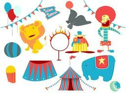circus, set of colorful icons