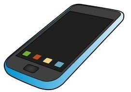 painted blue smartphone with black screen and color buttons