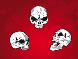 drawn three skulls on a red background