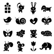 Black and white drawings of the cute woodland animals clipart