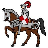 Clipart of Medieval Knight on a horse