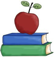 drawing of a red apple on a stack of books