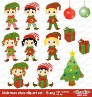 Cute Christmas Elves Digital Set Tree Boys And