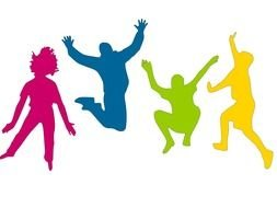 jumping persons, colorful silhouettes