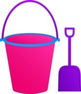 drawing pink bucket and shovel