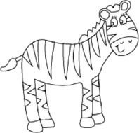 black and white zebra drawing for coloring