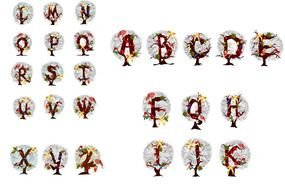 Alphabet in Christmas theme