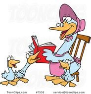 Cartoon Mother Goose Reading To Goslings 7538