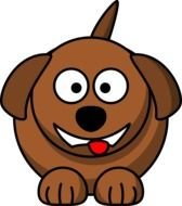 cartoon round dog with tongue hanging out