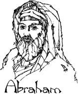 Black and white drawing of Abraham clipart