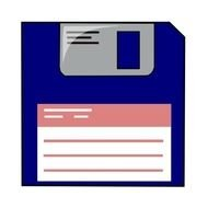 blue floppy disk on a white background