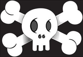white skull with bones on a black background