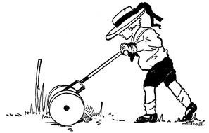 black and white picture of a man with a lawn mower