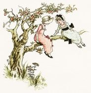 Apple Tree Victorian Girl Vintage Printable Storybook Image