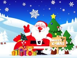 happy santa claus in a fabulous landscape as a picture for clipart