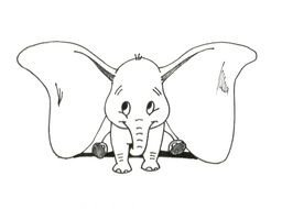 black and white drawing of a baby elephant with big ears
