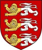 yellow-white lions painted on a red coat of arms
