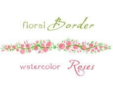 Clip Art of the floral border and watercolor roses