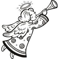Christmas Angel Black And White &183 clipart