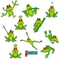 green frogs in different poses