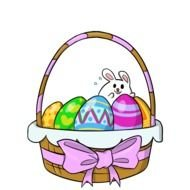 multi-colored eggs and white easter bunny in a basket