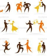 Clipart of Wedding Dance Icons