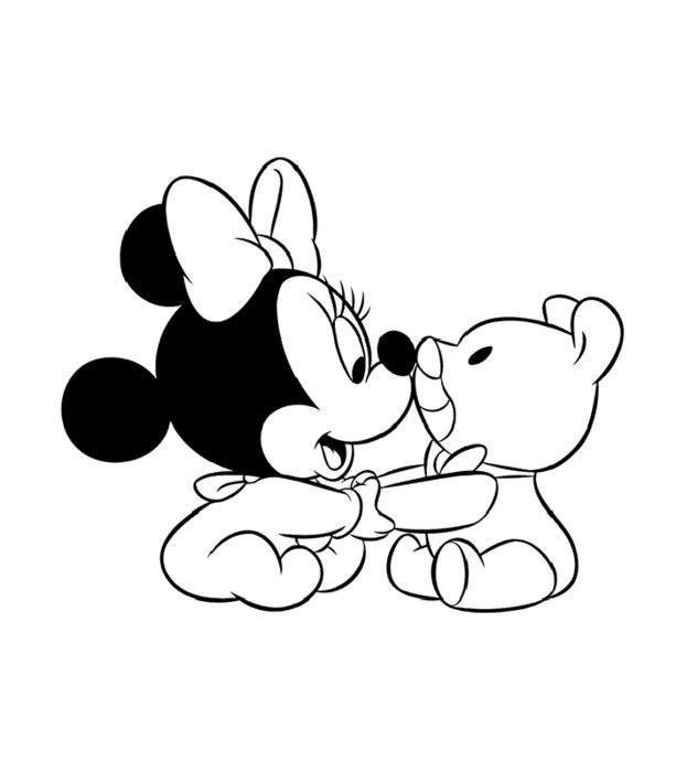 coloring page with baby Minnie Mouse