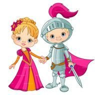 knight and princess on a white background