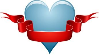 Blue Heart Red Ribbon Bow drawing