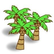 three coconut palms as a graphic illustration