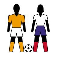 abstract male and female figures at soccer ball