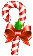 Christmas Candy cane with bow, drawing
