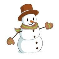 cartoon Snowman wearing scarf and gloves