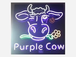 neon sign with a cow head