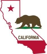 clipart of the california state outline with flag