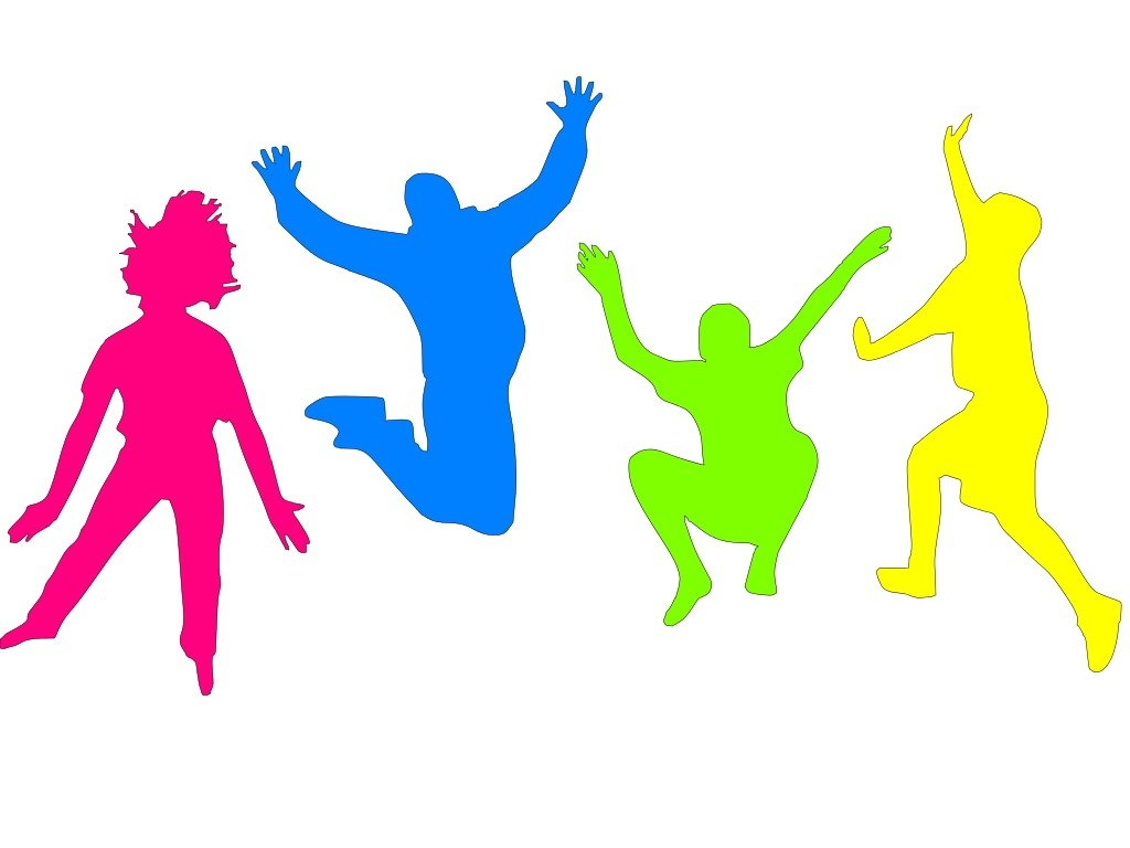 colorful silhouettes of jumping people