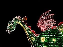 bright garland in the form of a dragon from disney cartoon