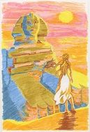 felt tip pen drawing of sphinx and a woman at sunset