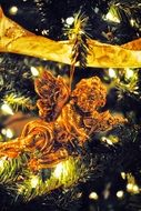 Christmas toy angel on the tree