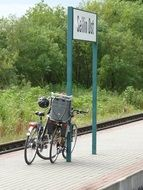 bicycles on a railway peron