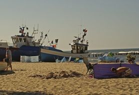 Fishing boats on the sandy beach